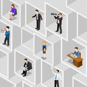 56931531 - flat 3d isometric business people professional diversity web infographic concept vector. different professions businessman businesswoman square room slot wall. secretary pa manager bookkeeper etc.