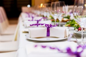 wedding favours with purple ribbon