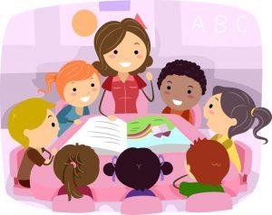 illustration of a teacher reading to children