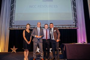 Our Managing Director Tony Smith, Business Manager Owen Smith and Head of Marketing David Keller, receiving their award from Sian Shepherd