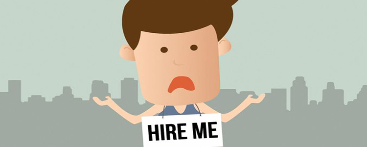 "cartoon man with ""Hire me"" sign"
