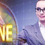 female taking online marketing offline