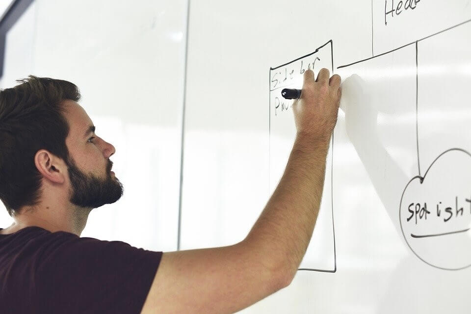 Man writing on a whiteboard during a training course